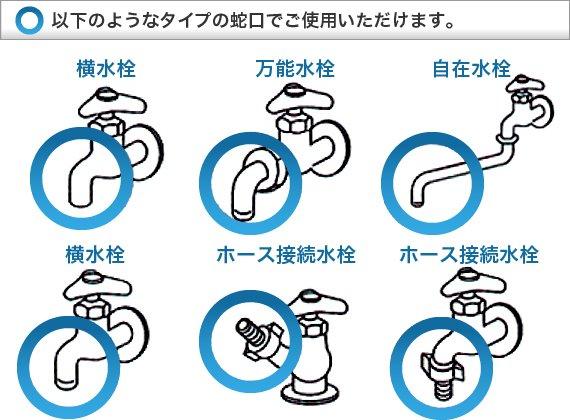 以下のようなタイプの蛇口でご使用いただけます。